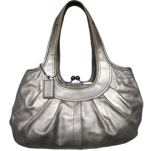 Coach Ergo Metallic Leather Kiss Lock Shoulder Bag